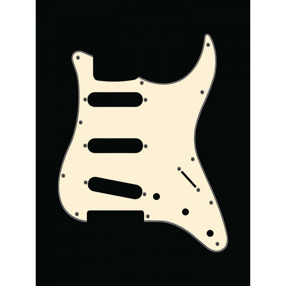 Boston 11-Hole 3-Ply Strat SSS Pickguard - Vintage White