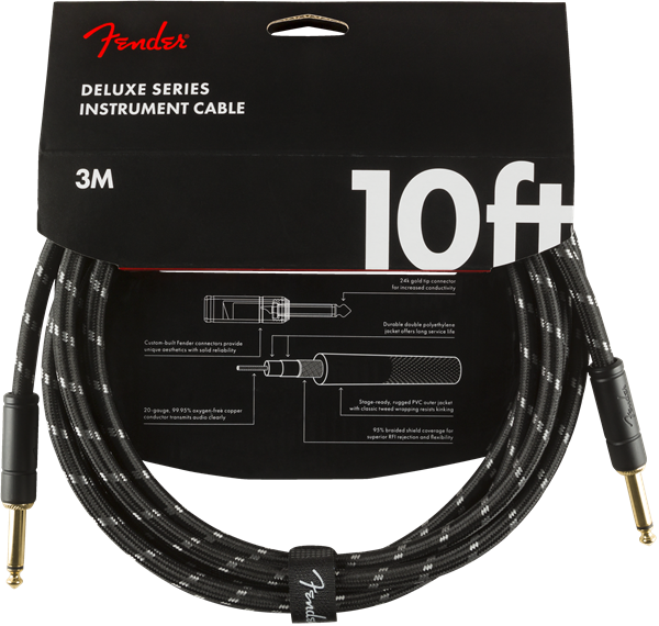 Fender Deluxe Series Cable, Straight/Straight 10' Black Tweed
