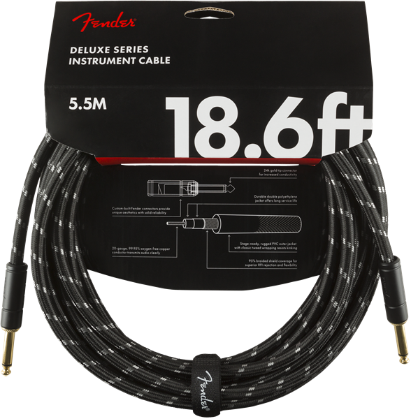 Fender Deluxe Series Cable, Straight/Straight 18.6' Black Tweed