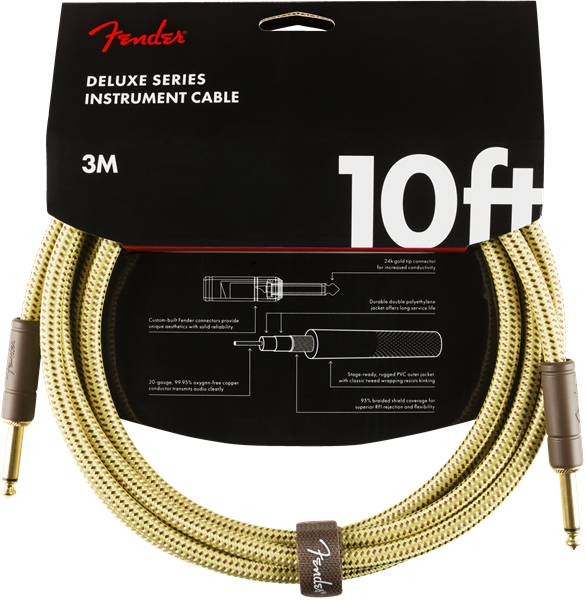 Fender Deluxe Series Cable, Straight/Straight 10' Tweed