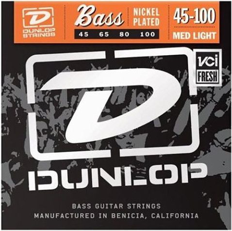 Dunlop Nickel Plated 4-String Bass String Set 45-100