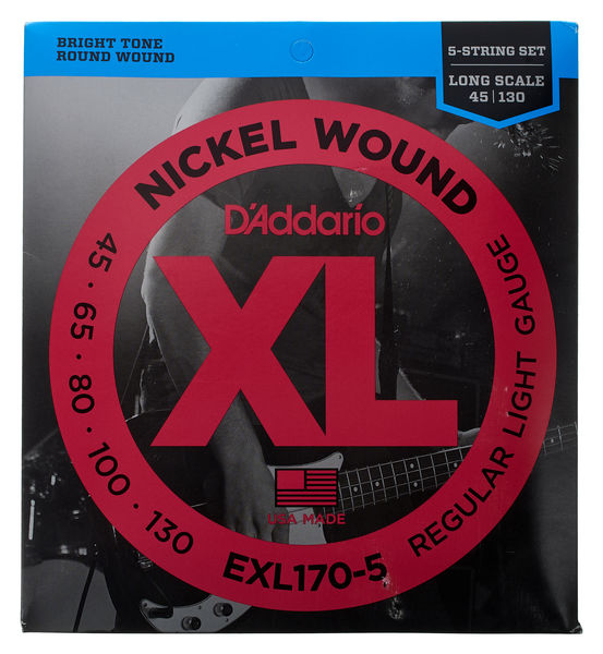 D'Addario EXL170-5 Nickel Wound Bass, Reg Light, 45-130