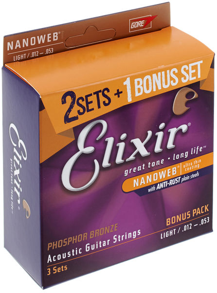 Elixir Nanoweb Phosphor Bronze Light 12-53 Bonus Set