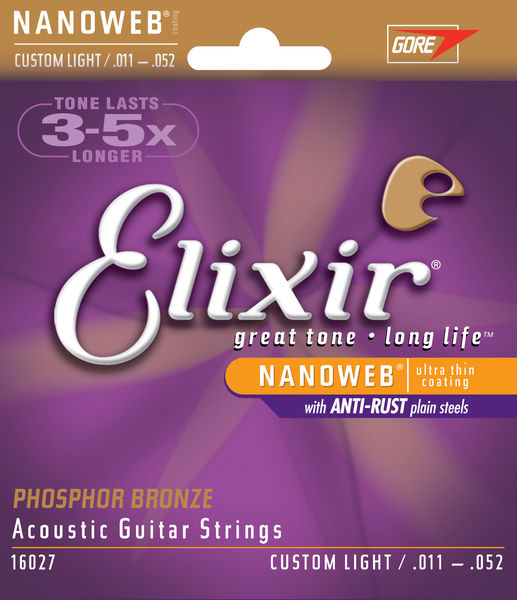 Elixir Nanoweb Phosphor Bronze Custom-Light 11-52