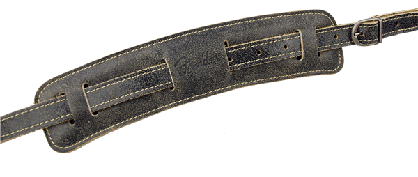 Fender Vintage-Style Distressed Leather Strap, Black