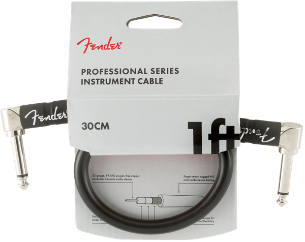 Fender Pro Series Cable, Angle/Angle 1' BLK