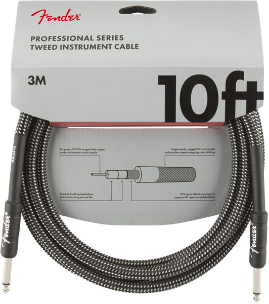 Fender Pro Series Cable, Straight/Straight 10' Grey Tweed