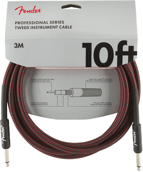 Fender Pro Series Cable, Straight/Straight 10' Red Tweed