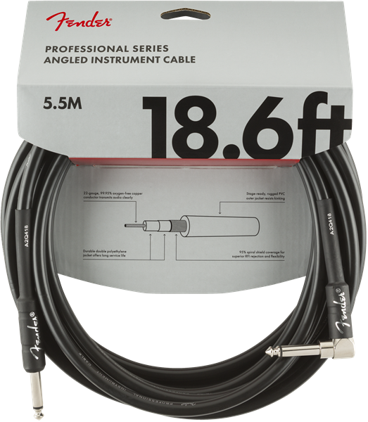 Fender Pro Series Cable, Straight/Angle 18.6' BLK