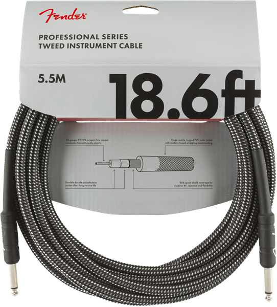 Fender Pro Series Cable, Straight/Straight 18.6' Grey Tweed