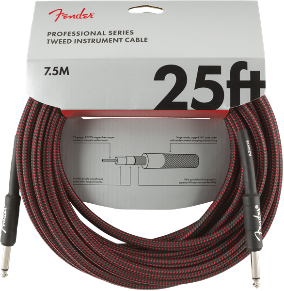 Fender Pro Series Cable, Straight/Straight 25' Red Tweed