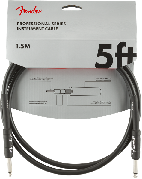 Fender Pro Series Cable, Straight/Straight 5' BLK