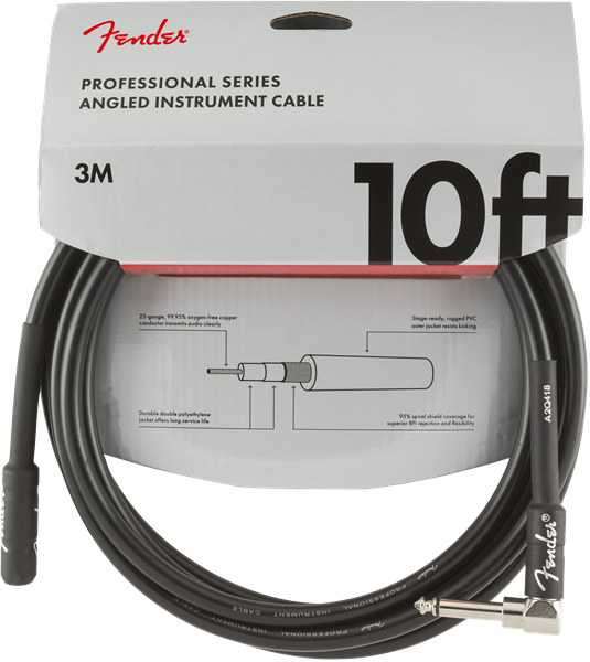 Fender Pro Series Cable, Straight/Angle 10' BLK