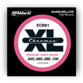 D'Addario ECB81 Flatwound Chromes Bass, Light, 45-100, Long Scal