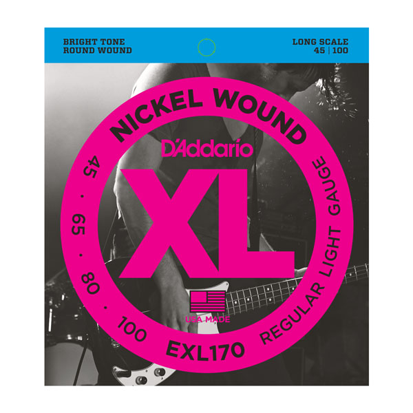 D'Addario EXL170 Nickel Wound Bass, Light, 45-100, Long Scale