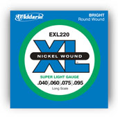 D'Addario EXL220 Nickel Wound Bass, Super Light, 40-95, Long Sca