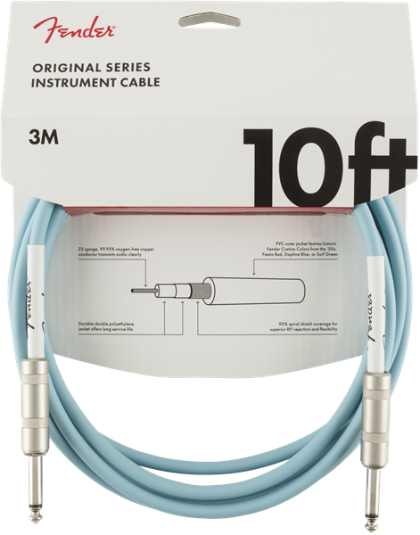 Fender Original Series Instrument Cable 10' - Daphne Blue